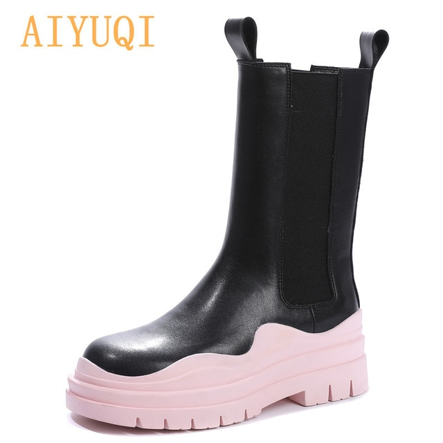 AIYUQI Chelsea Boots Women Genuine Leather New Luxury Ankle Boots Girl Autumn Winter Shoes Platform Slip On Martin boots Women 4