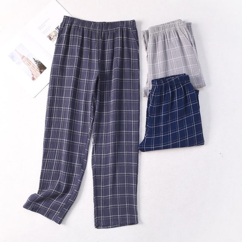 New Mens Plaid Gauze Sleep Bottoms Knitted Cotton Lounge Wear Loose and Soft Pyjamas Trousers Plus Size Sleepwear Home Pants