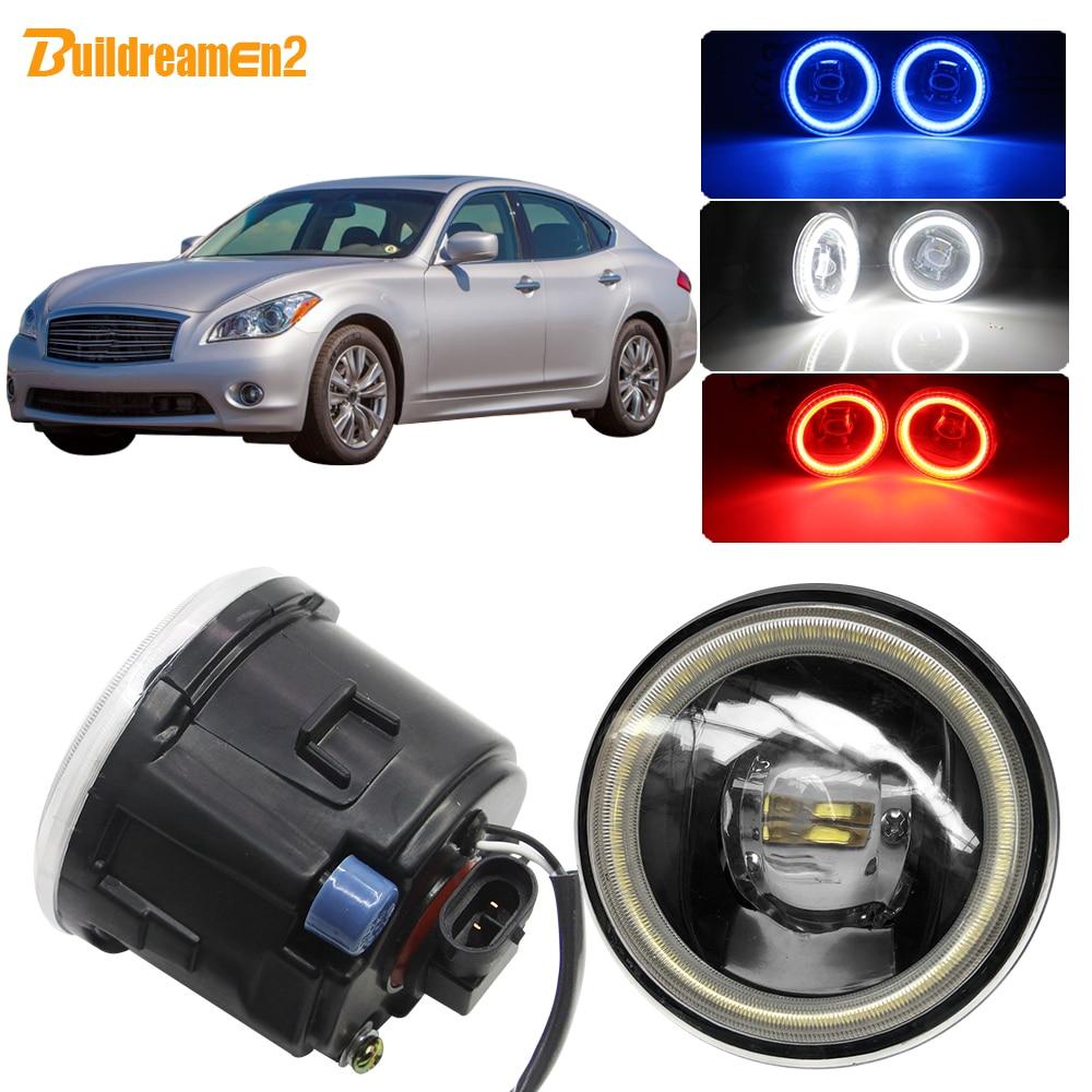 Buildreamen2 coche 4000LM Luz de niebla LED lente ojo de ángel de luz diurna DRL 12V para Infiniti Q Q60 Q70 2011, 2012, 2013, 2014