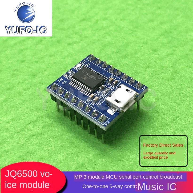 Livre o navio 1 pces jq6500 módulo de voz mp3 módulo mcu controle de porta serial transmissão de um a um controle de 5 vias música ic