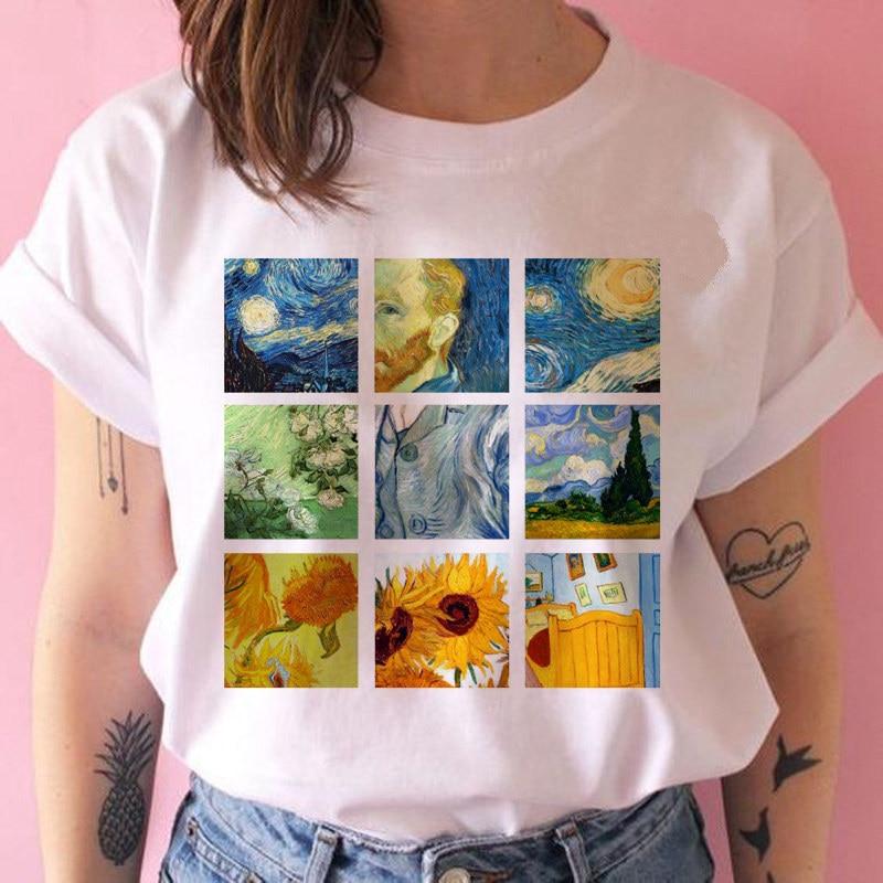 New Summer MONA LISA Harajuku T shirt  Women O-Neck Aesthetics Tshirt Funny Print Casual Short Sleeve Streetwear Femme недорого
