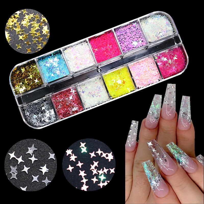 Symphony  Little Stars Nail Starry Sequins for Nails Colorful Flakes Paillette Tool Art Decorations DIY Design Supplies