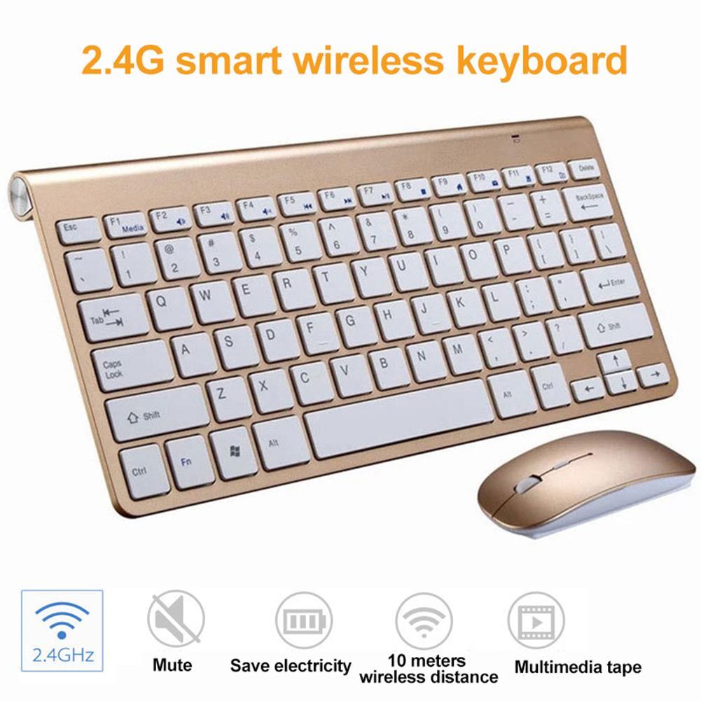 Kit de ratón de teclado USB inalámbrico ultradelgado de 2,4G para Smart TV, ordenador de sobremesa, juego de ratón clavier, gamer, alcancía