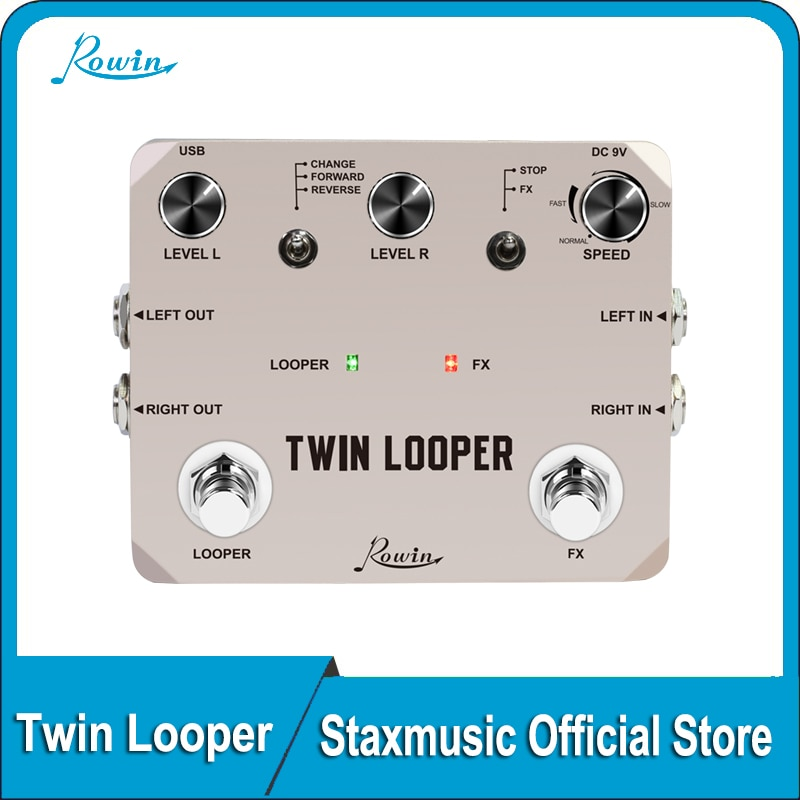 rowin tiny looper electric guitar effect pedal 10 minutes of looping unlimited overdubs Rowin LTL-02 Twin Looper Pedal Upgrades Looper Pedals For Electric Guitar 10 Min Looping Unlimited Undo/Redo Function 11 Types