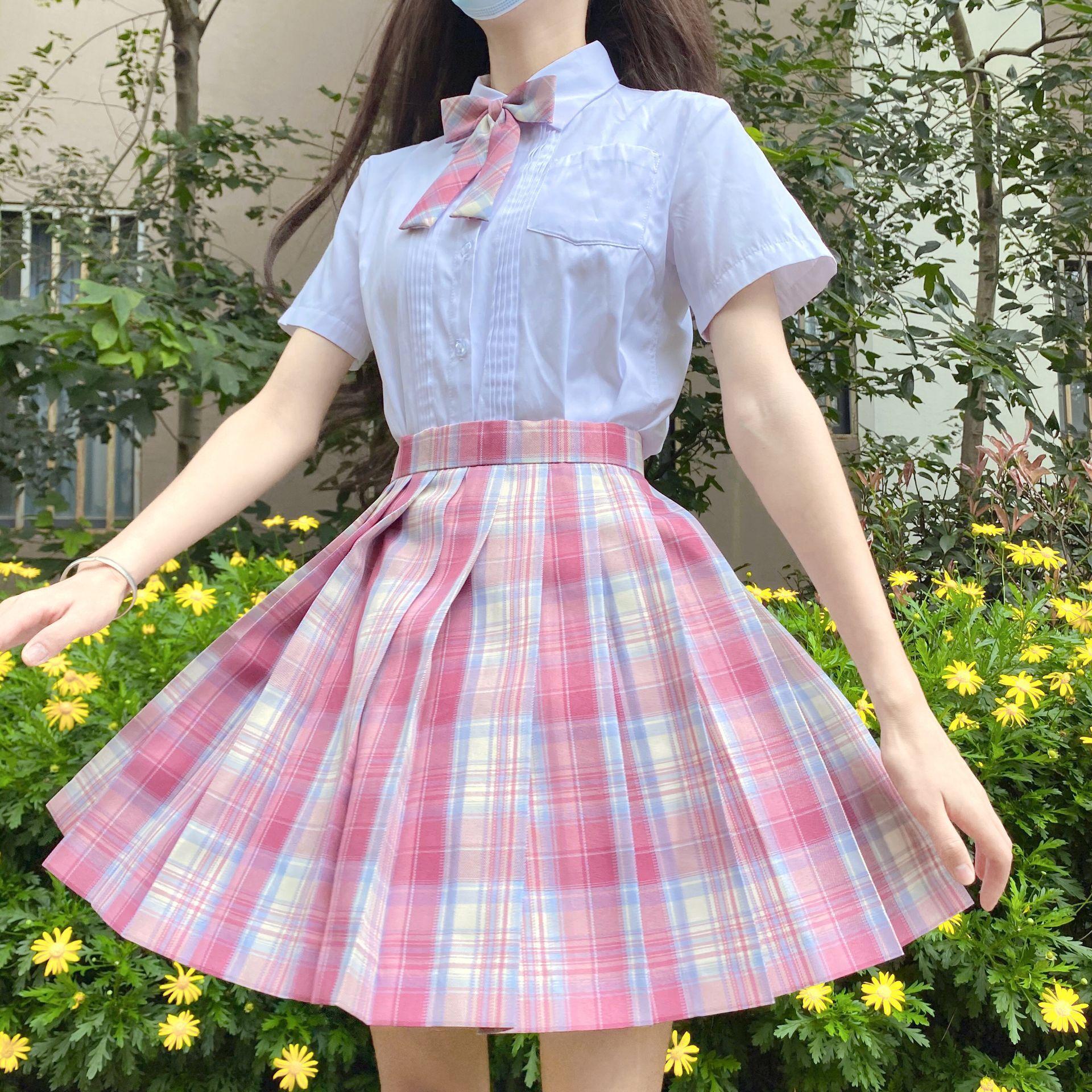 school uniform outfit white short sleeve top and pink skirt School Dresses Jk Uniform Sets Girls White Shirt Pink Skirt Tie Short-sleeve Navy Sailor Suit Anime Form High School Uniform XL