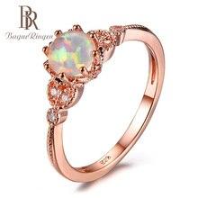 Bague Ringen 100% véritable Sterling 925 argent Bague avec opale ronde Zircon pierres précieuses bijoux de mariage fête cadeau pour les femmes