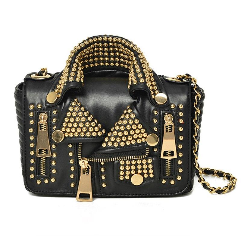Women Leather Handbags Chain Motorcycle Bags Punk Clothing Shoulder Rivet Zipper Jacket Bag Messenger Bag European Brand Design
