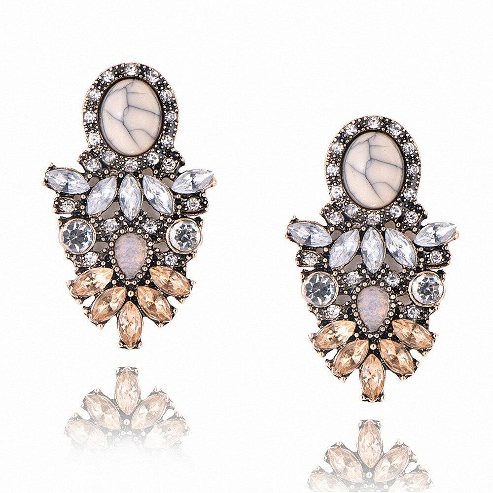 Pendientes colgantes de flor de cristal de Piedra Rosa Retro europeo y americano para mujer pendientes de diamante de imitación dorado moderno regalo 2020