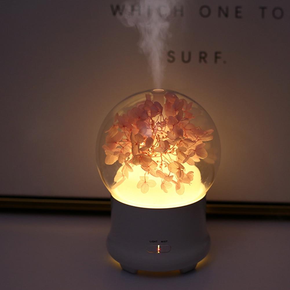 Humidificador de aire con flor de cristal difusor de Aroma de aceite esencial, luz LED nocturna de 7 colores, Humidificador u недорого