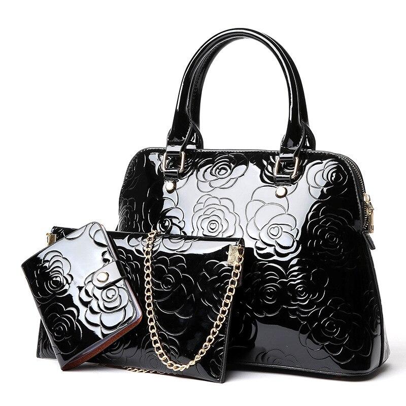 3PCS Set High Quality Luxury Patent Leather Women Handbags Floral Printing Composite Messenger Bag S