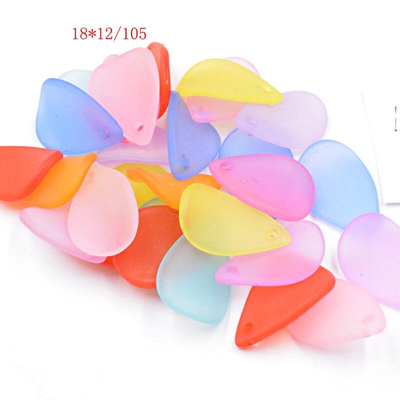 FLTMRH 15 Uds 18*12mm collar y accesorios de aretes Hojas De Dibujos pétalo Mezcla Color mate acrílico espaciador para joyería Makin