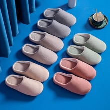 Men's Indoor Slippers Warm Plush Couple Casual Slippers Non-slip Autumn And Winter Shoes Ladies Home
