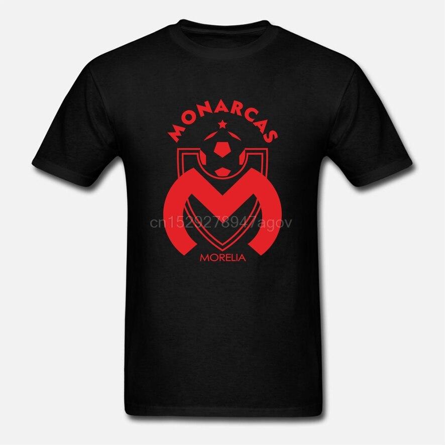 Club Monarcas Morelia Futbol Mexicano Football Soccer Team Black Tee Shirt Mens Round Neck Short Sleeves Bottoming
