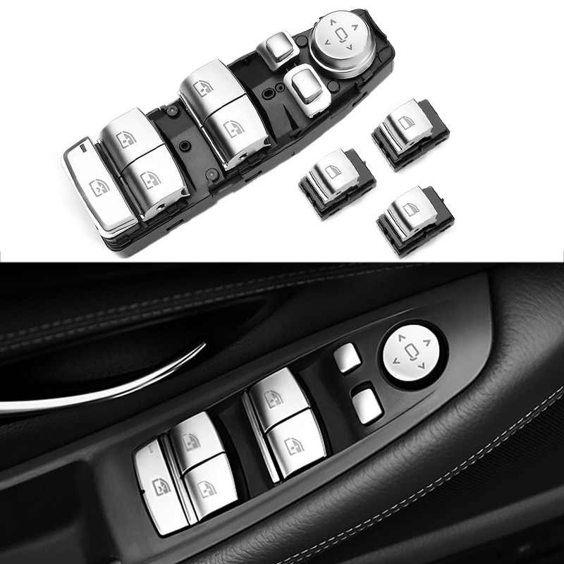 4 قطعة كروم سائق نافذة رافع مفتاح رئيسي زر التحكم ل BMW F01 F02 F06 F07 F10 F11 F25 X3 5/7 سلسلة اكسسوارات السيارات