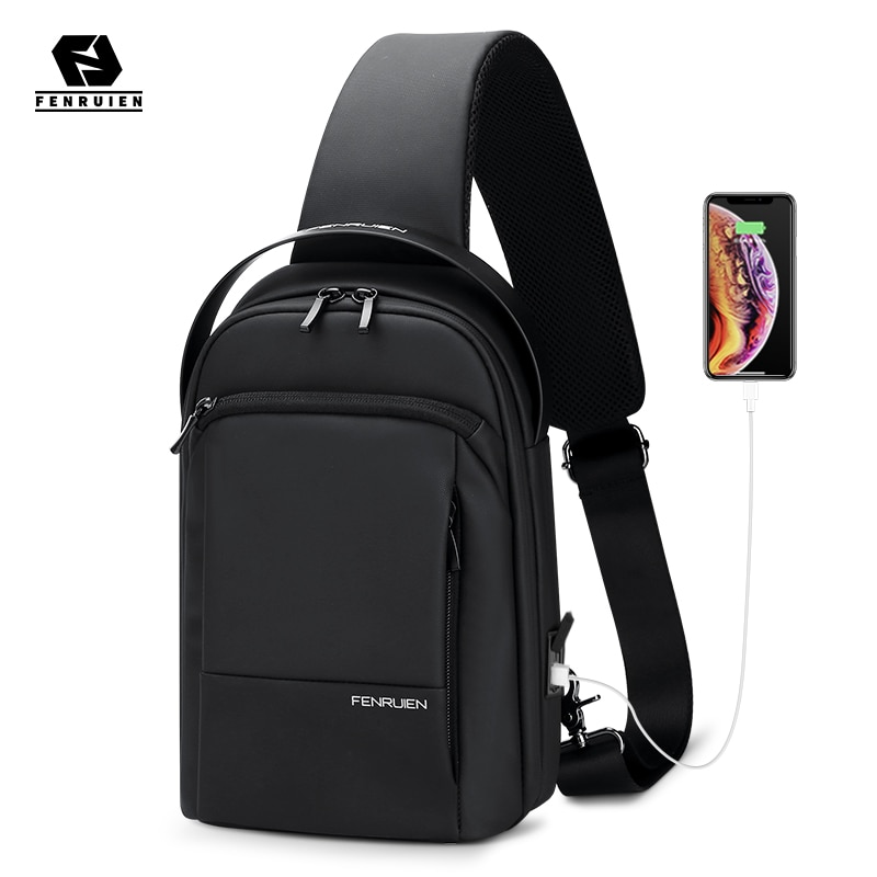 Fenruien 2021 New Crossbody Bag For Men Waterproof Casual Chest Bag USB Charging Shoulder Messenger Bag Fit For 9.7 Inch iPad