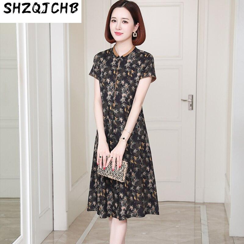 SHZQ عالية الجودة فستان حريري المرأة تقليد سحابة غزل جديد مطبوعة التوت الحرير تنورة الصيف