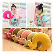 1Pcs Novelty Squirrel Animal Cotton Plush U Shape Neck Pillow Travel Car Home Pillow Nap Pillow Heal
