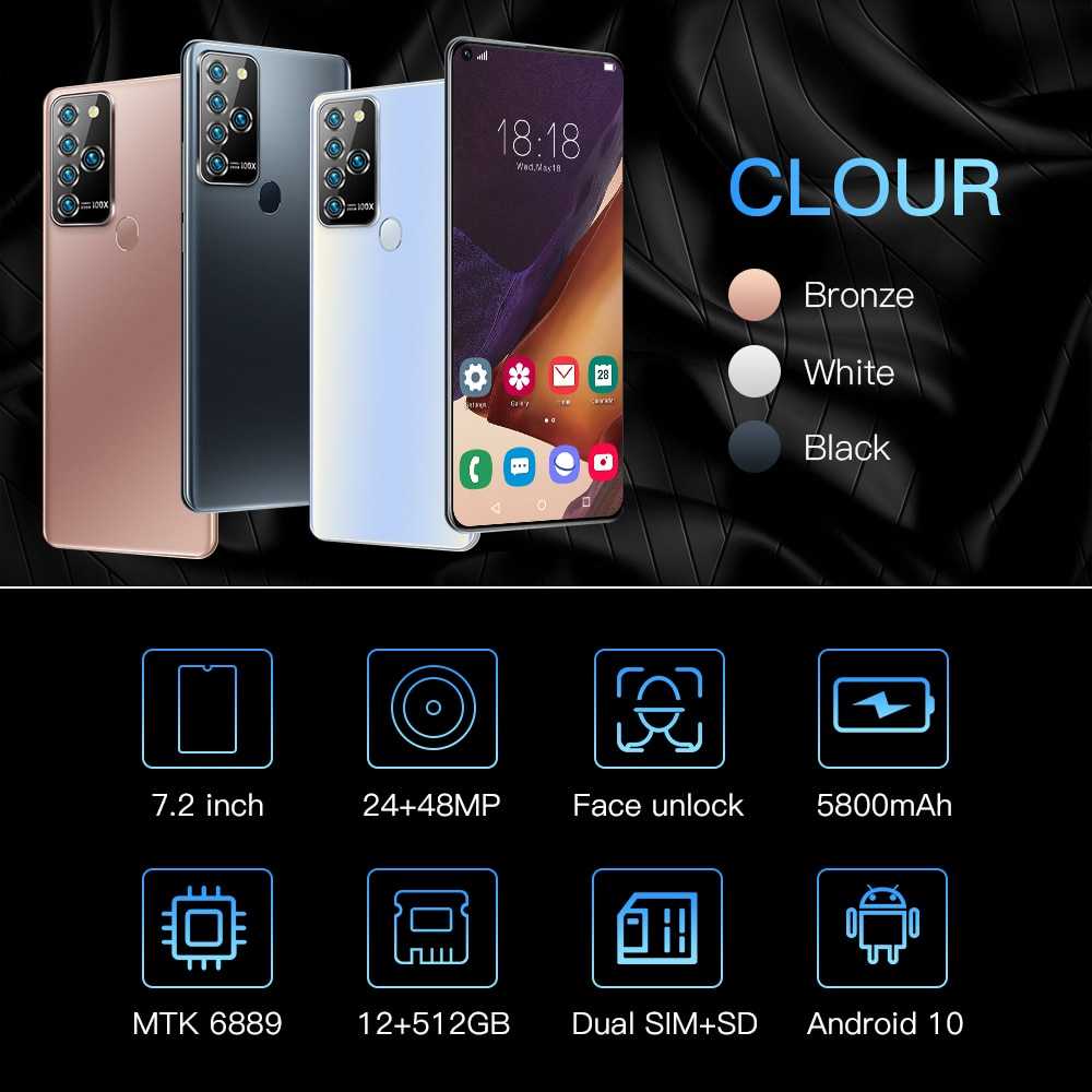 Global Version Note25 U 5G 7.2 Big Screen Snapdragon 865 12+512GB 5800mAh GPS 24+48MP AI Android 10.0 Face ID Smartphone  - buy with discount