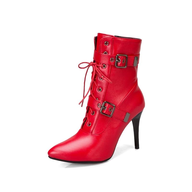 Botines de talla grande de 50 para mujer, con cordones, cremallera, tacones finos, botas, puntera, fetiche, zapatos sexis para boda, zapatos para mujer, 3993