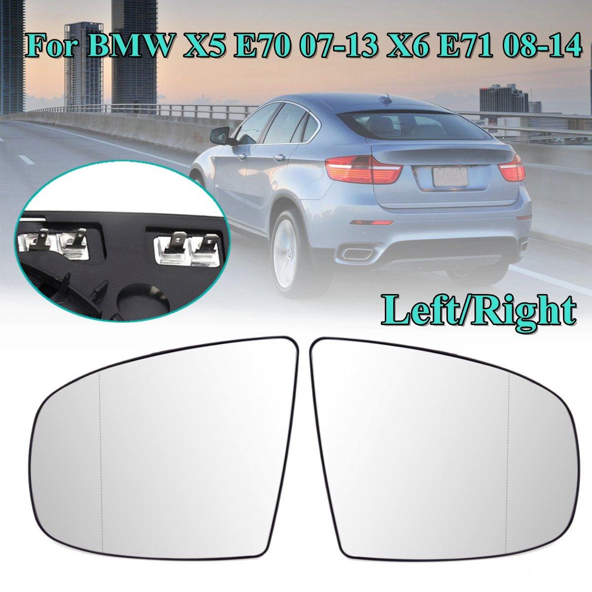 4 interfaz Puerta de ala de espejo con cristal calefactado lado eléctrico ala de espejo de vidrio para BMW X5 E70 07-11 X6 E71 2008, 2009, 2010-2014