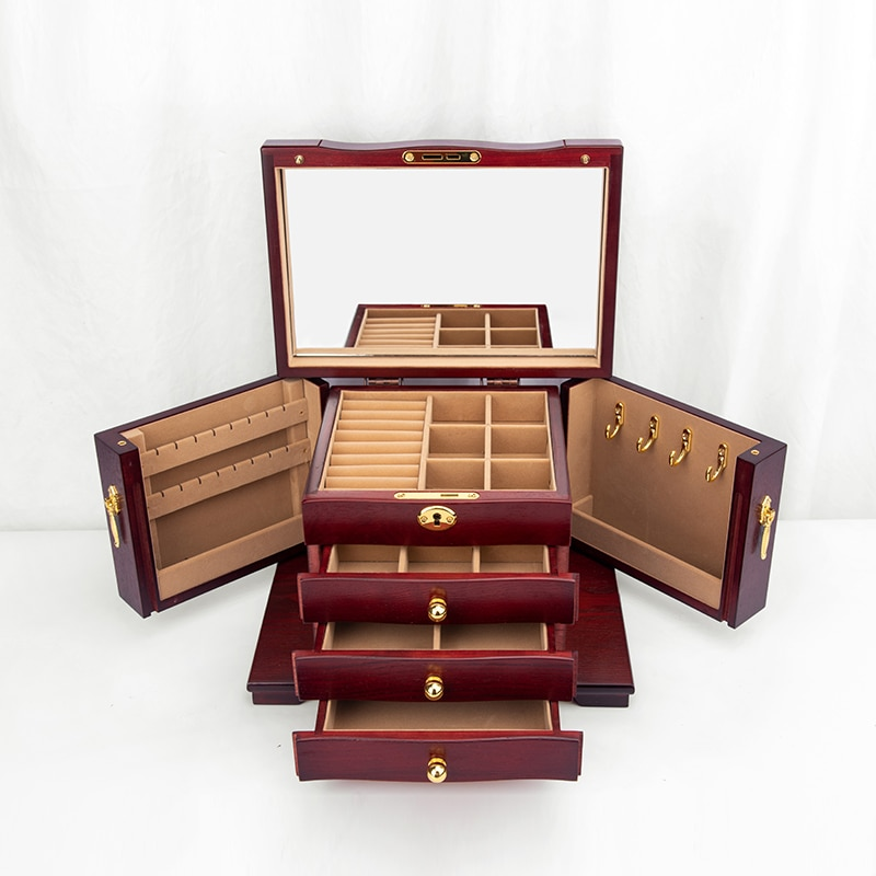 خشب متين عتيق درج نوع صندوق تخزين متعدد الوظائف سعة كبيرة خزانة نثرية