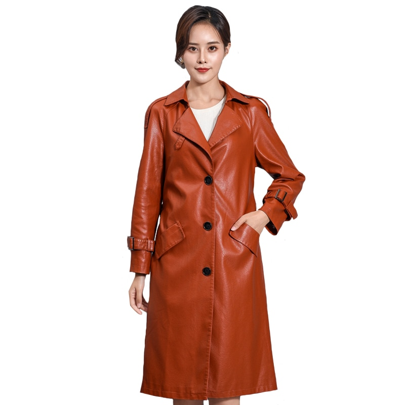 Women Long Faux Leather Jacket Winter Autumn Faux Leather Trench Coat With Belt Female Windbreaker Long Outerwear female costume emberens 4217 striped handsome casual with belt autumn winter российское production delivery from russia