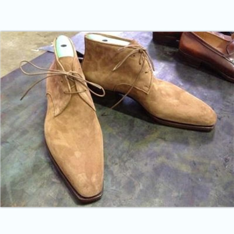 New Men Fashion Business Casual Daily All-match Dress Shoes Handmade Khaki Faux Suede Classic Wingti