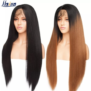 HAIRRO 26'' Ombre Yaki Hair 12.5X3 Lace Front Wig Long Straight Synthetic Free Part Hairline Afro Wigs With Baby Hair