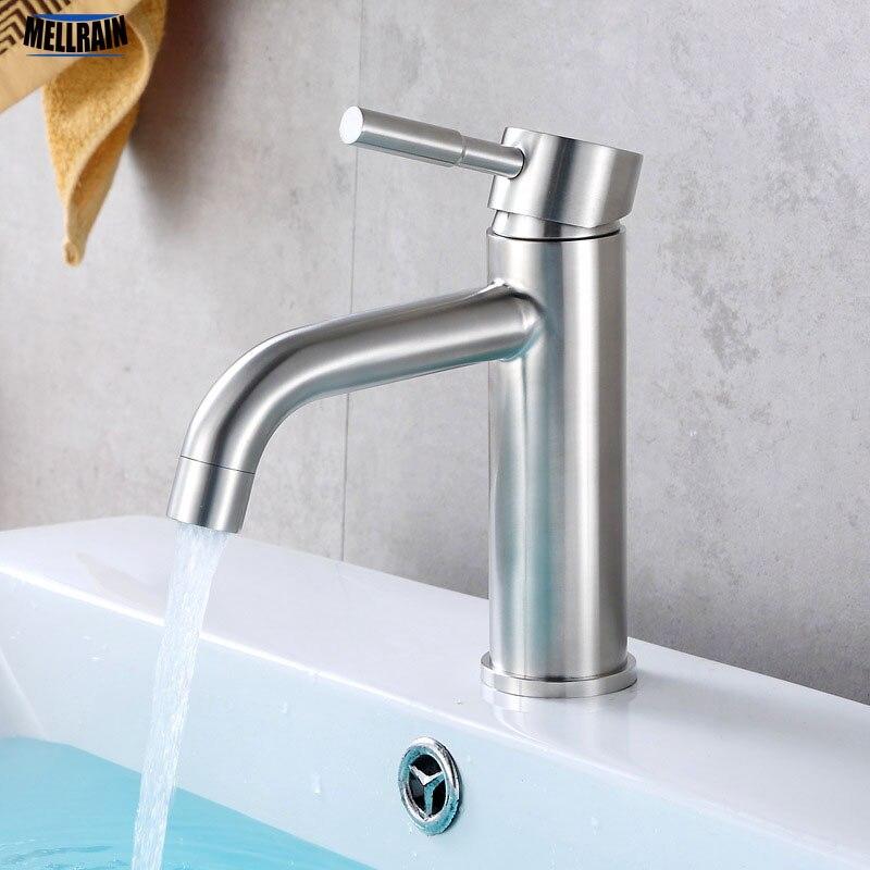 حنفية حوض حمام من مادة SUS304 مقاومة لبصمة الإصبع خلاط مياه حوض صنبور متين