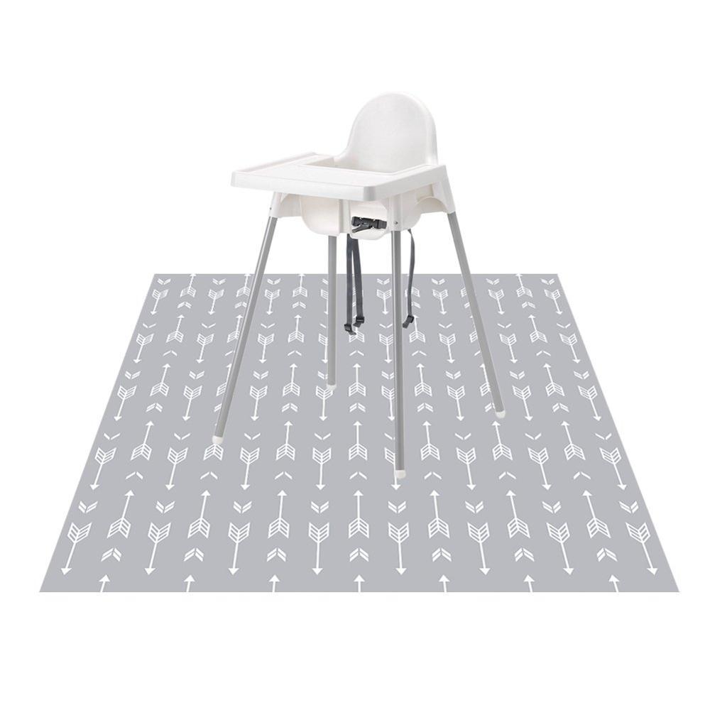 Washable Highchair Splat Floor Mat Anti-Slip Silicone Spot Splash Mess Mat(51'' X 51'') Food Catcher Art Craft Leak Proof Mat