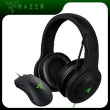 Razer Kraken Mic Razer deathadder가 장착 된 필수 헤드폰 헤드셋 PC/노트북/전화 게이머 용 필수 6400 인치 당 점 게임용 마우스