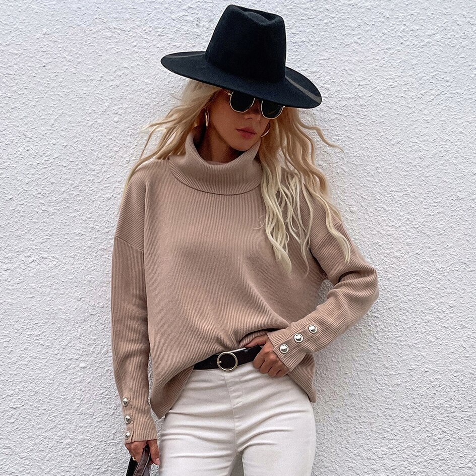 Autumn Winter Pullover Knitted Sweater Turtleneck Long Sleeve Women Loose Solid Color Plus Size Sweater Temperament Casual girls sweater turtleneck knitted long sleeve kids clothes autumn 2018 casual children school uniform size 8 10 12 13 15 year
