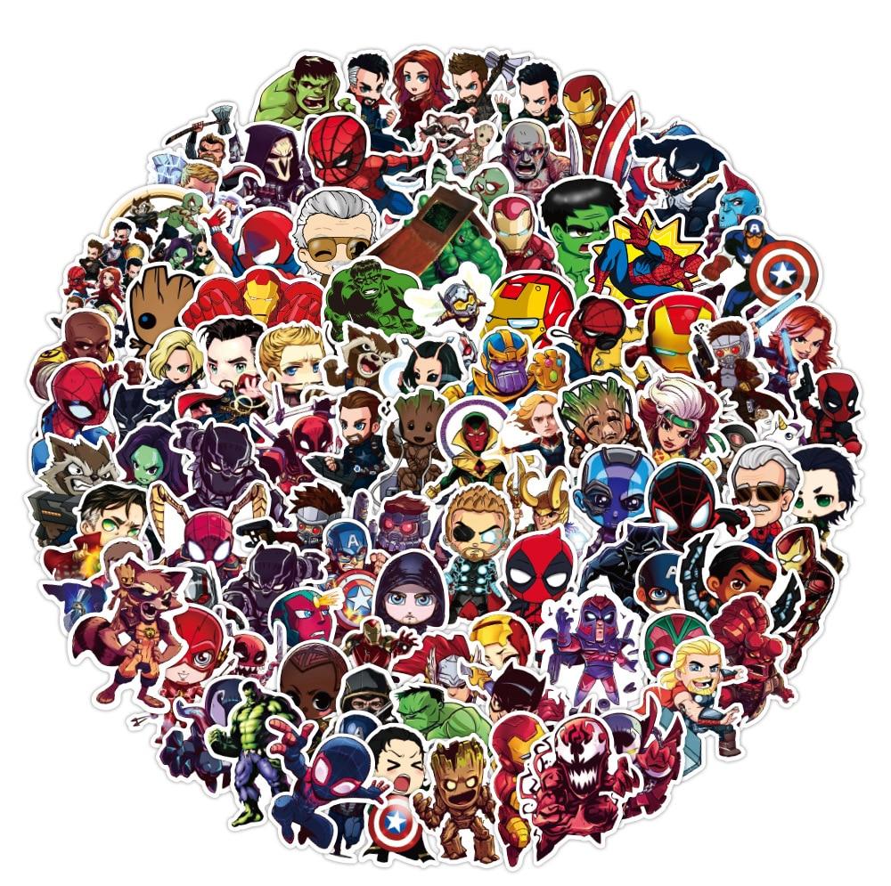 100pcs-cartoon-marvel-stickers-cool-the-avengers-adesivo-impermeabile-bagagli-skateboard-chitarra-laptop-stikers-giocattoli-per-bambini