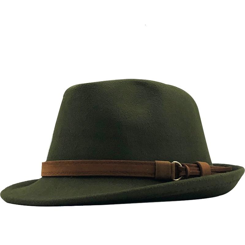 New Wool Women Men Fedora Hat For Winter Autumn Elegant Lady Gangster Trilby Felt Homburg Church Jaz
