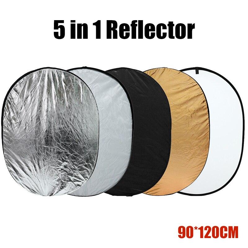 Reflector de iluminación fotográfica 5 en 1 Multi-disco 90*120CM plegable portátil para estudio fotográfico plegable con bolsa de transporte