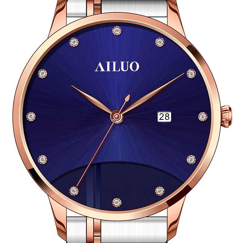 فرنسا العلامة التجارية الفاخرة AILUO زوجين ساعات اليابان ميوتا الكوارتز النساء المعصم الياقوت الساعات الماس reloj موهير A7098W