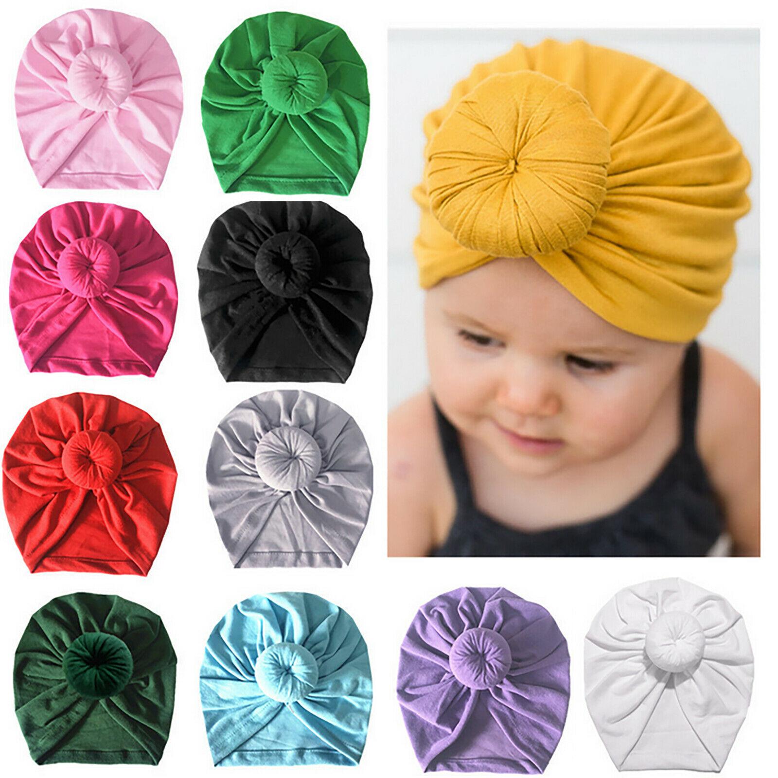 Infant Kids Newborn Baby Turban Knotted Head Wrap Headbands India Hats Beanie Cotton blend Hair Cap Children Girl Boy Head band