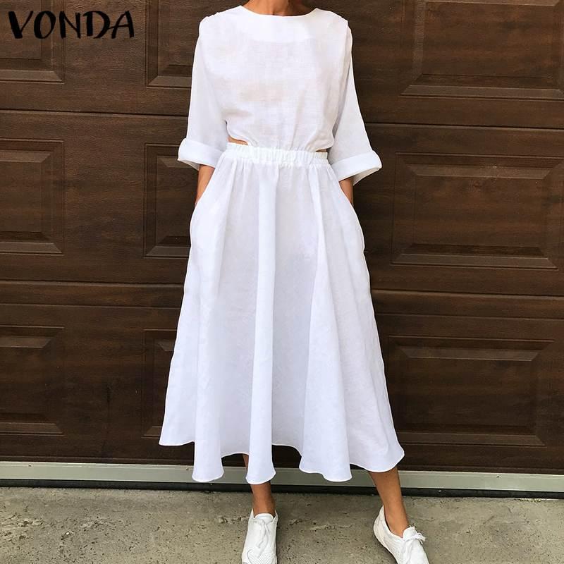 Vestido para mujer en tallas grandes Beach Sundress VONDA 2020 Casual suelta de manga larga Maxi vestido de fiesta bohemio Vestidos Casual Robe 5XL