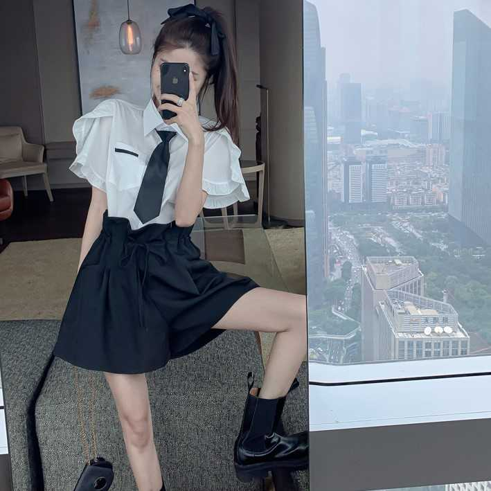 Fashion Suit 2021new Women's Clothing Spring and Summer Thin Loose Shirt + Bud Casual Shorts Two-Pie