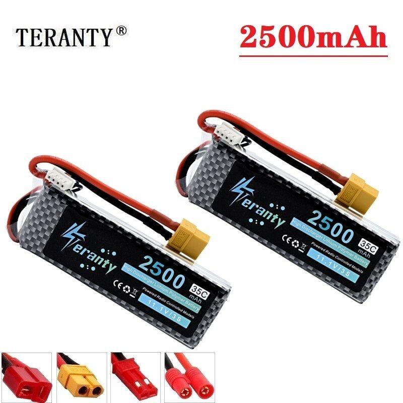 TERANTY Power 2 unids/lote, batería de 11,1 V, 2200mAh, 2500mAh, MAX 60C para Robots de control remoto, barcos, Dron a control remoto, parte de batería de 11,1 v, batería lipo 3s
