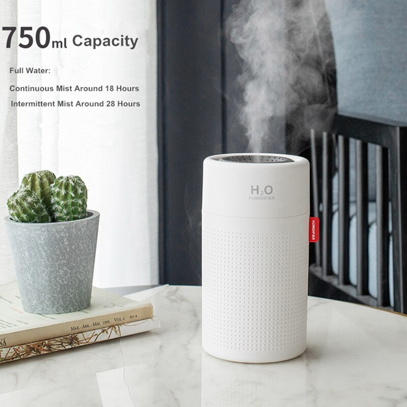 Difusor de aromaterapia recargable por USB, humidificador de aire, máquina difusora de aceites esenciales, generador de niebla ultrasónica silenciosa, 750ml