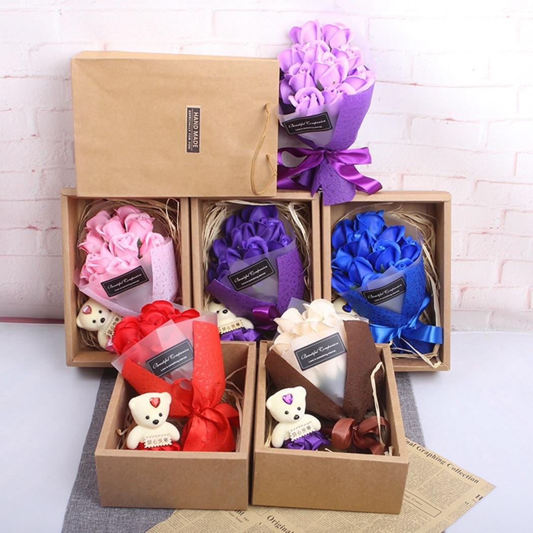 11 Uds jabón Rosa romántico oso encanto jabón flor seca para regalo de la novia del Día de San Valentín