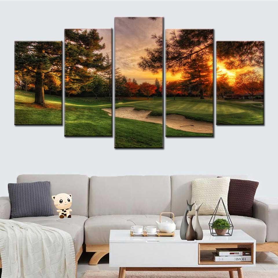 Modelador resim duvar sanat/hd bask/póster 5 paneles de golf sahas/manzara manmanizara boyama oturma odas/ev dekorasyon