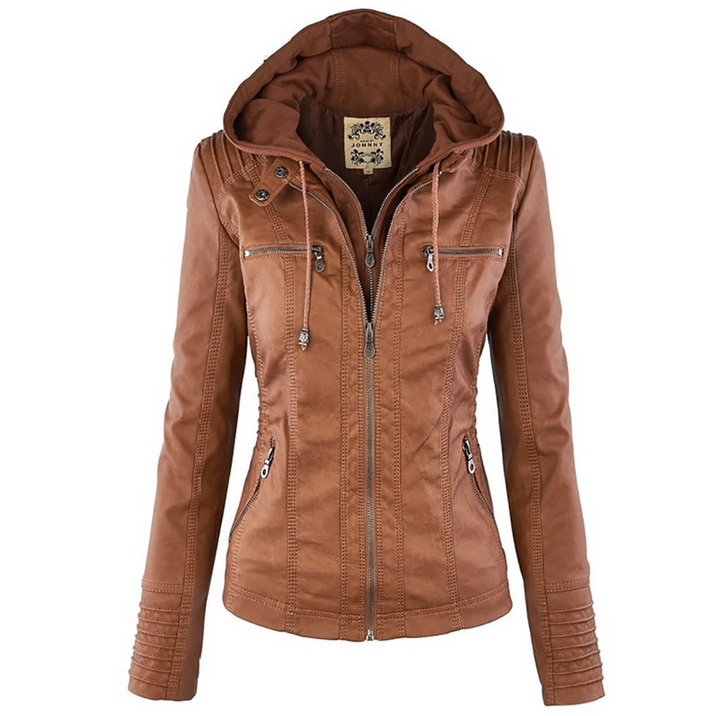 2020 Winter Faux Leather Jacket Women Casual Basic Coats Plus Size 7XL Ladies Basic Jackets Waterpro