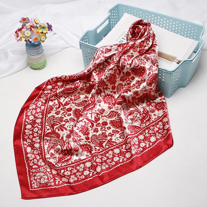 Pañuelo cuadrado pequeño de seda sintética de 90X90cm, pañuelo estampado de corte de papel estilo chino para mujer, pañuelo Fular, pañuelo para mujer 2020