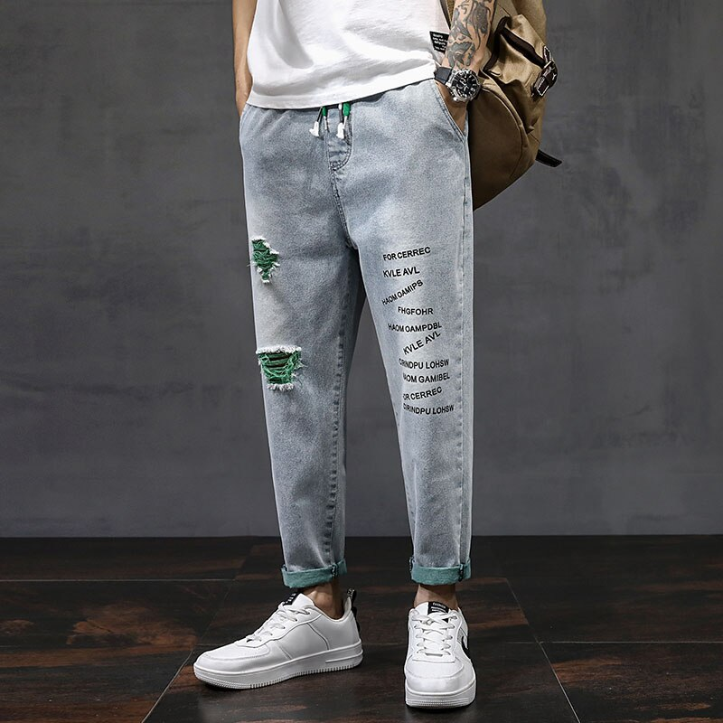 2021 летние штаны-шаровары зауженные джинсы для мужчин растянутые джинсовые штаны уличная черный Джоггеры мужские повседневные свободные дж...