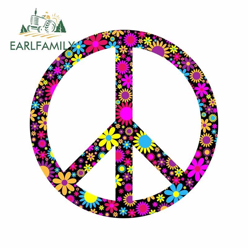 Earlfamily 13cm x 13cm para a paz graffiti carro adesivos campervan decalque vinil material à prova d3d água estilo do carro 3d para jdm suv rv