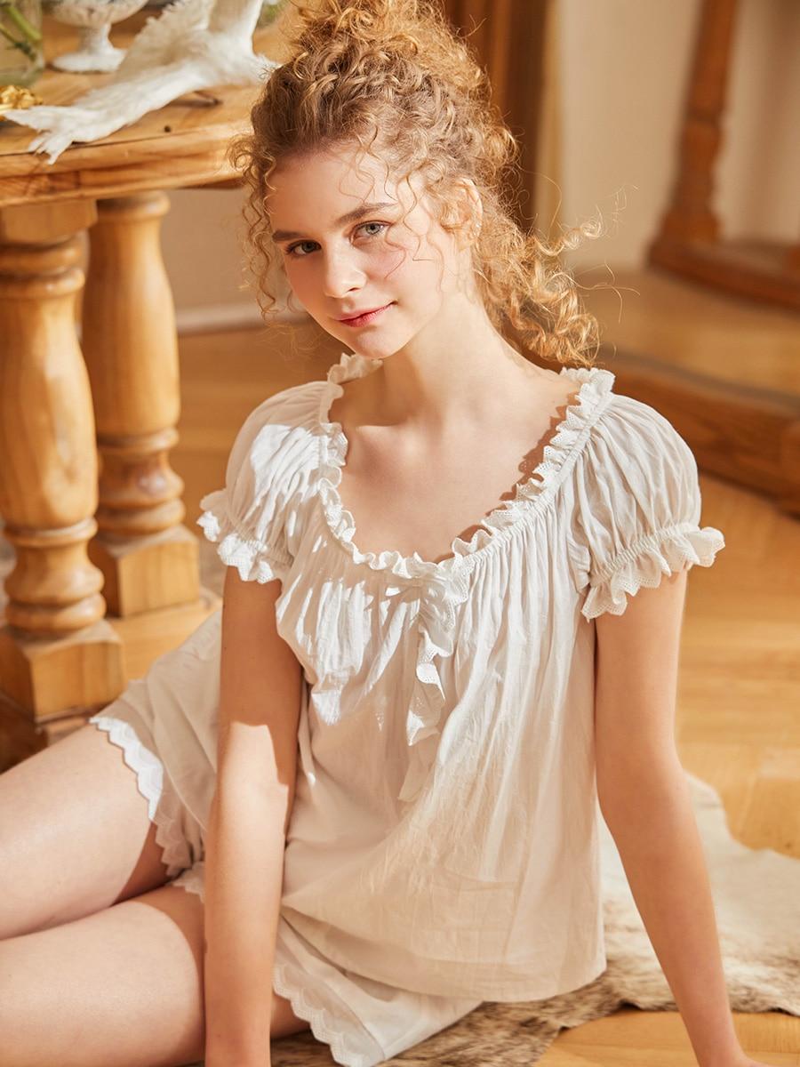 Hanxiuju القطن السراويل منامة للسيدات الكلاسيكية Vintage الفتيات الحلو ملابس خاصة الدعاوى الصيف فضفاض Homewear