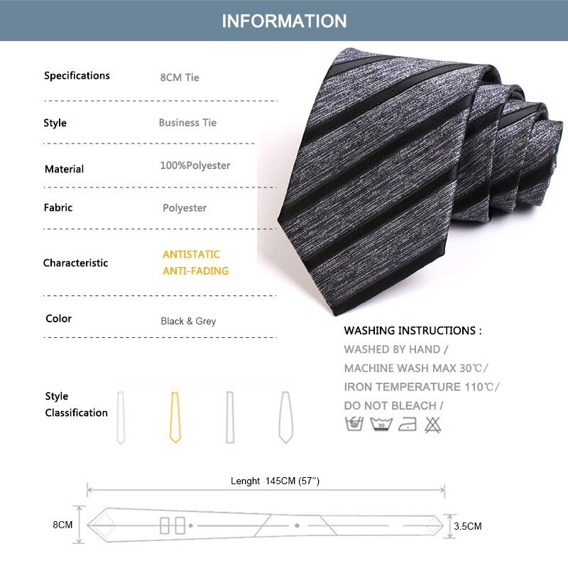 New Arrivals High Quality Classical Striped 8CM Wide Ties For Men Business Suit Work Party Necktie Male Fashion Formal Neck Tie