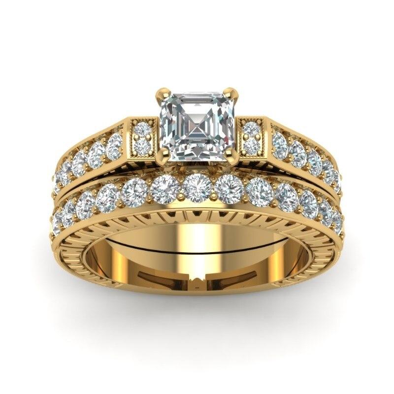 FDLK 2 unids/set cuadrado anillo de cristal blanco aniversario joyería de proposición conjunto de anillo de compromiso de boda de la novia tamaño 5 - 12
